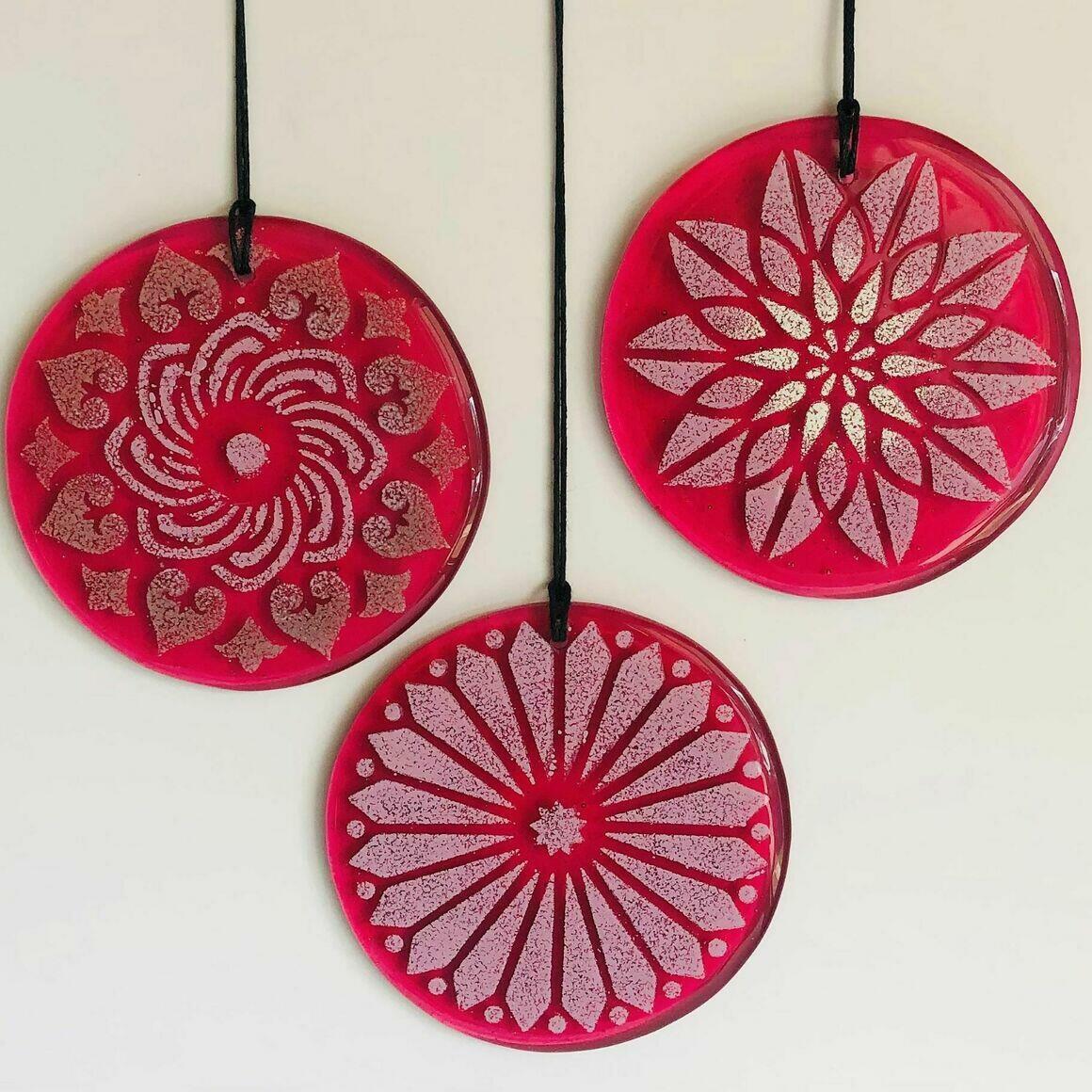 Glass Mandala Window Ornament Suncatcher  - Berry Pink | Trada Marketplace