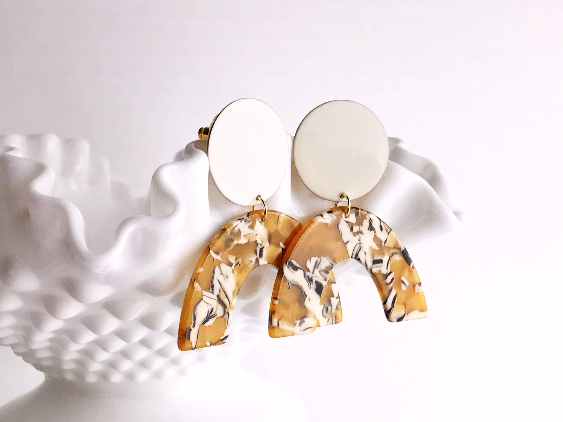 sydney earrings - ivory / mustard safari   Trada Marketplace
