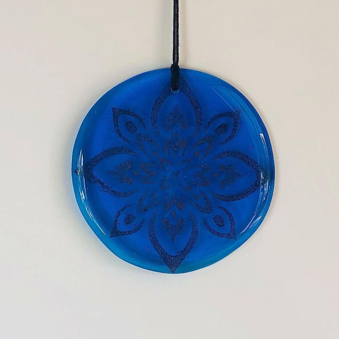Glass Mandala Window Ornament Suncatcher - True Blue | Trada Marketplace