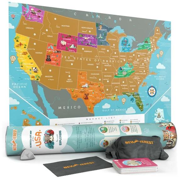 "Newverest Scratch Off USA Map - Kids Edition 24"" x 17"" | Trada Marketplace"