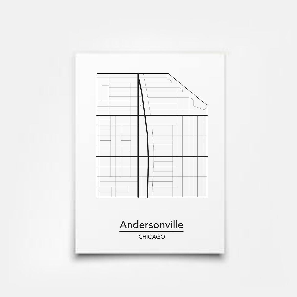 Andersonville - Chicago Neighborhood Map Print | Trada Marketplace
