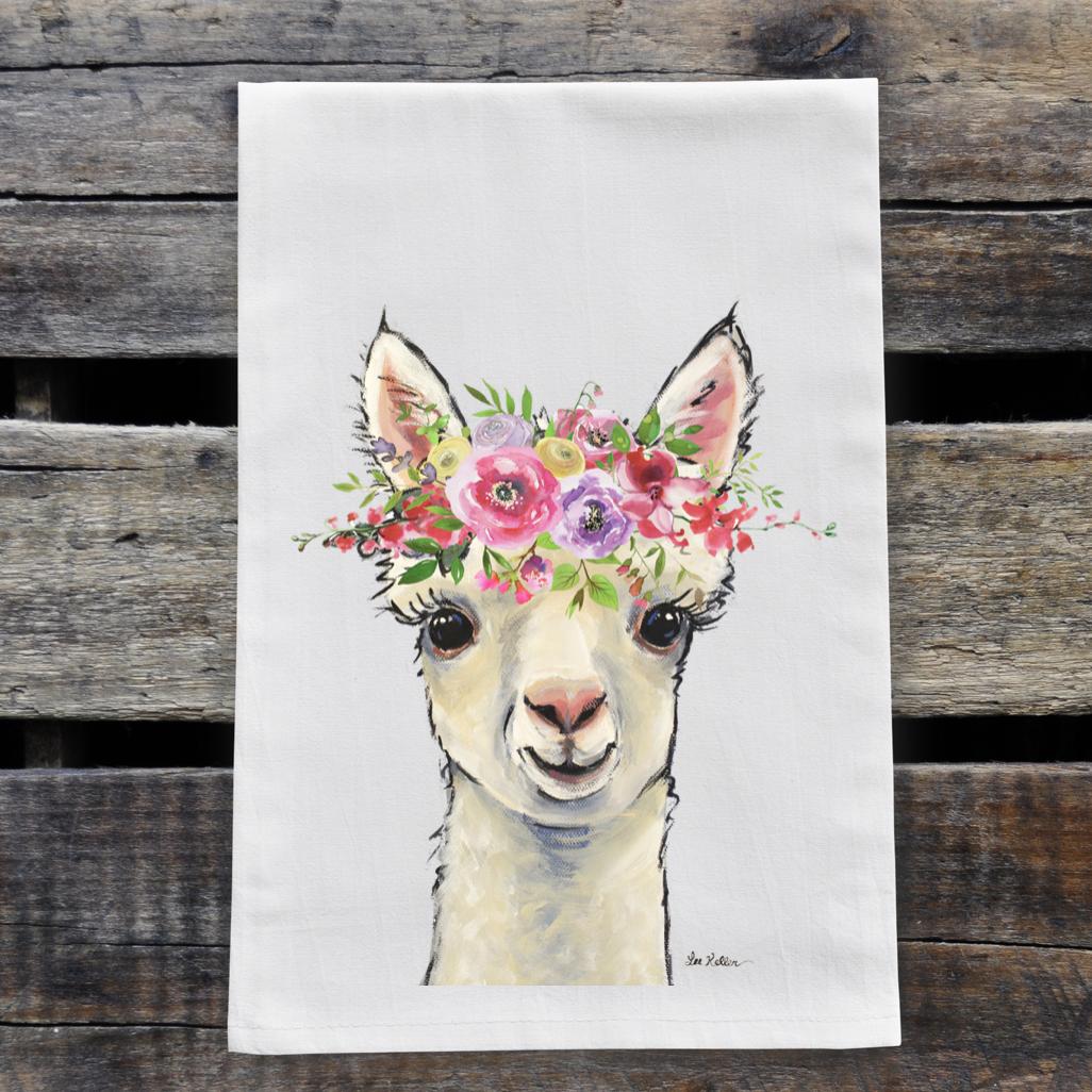 Spring Flower Alpaca Tea Towel, Farmhouse Towel Decor   Trada Marketplace