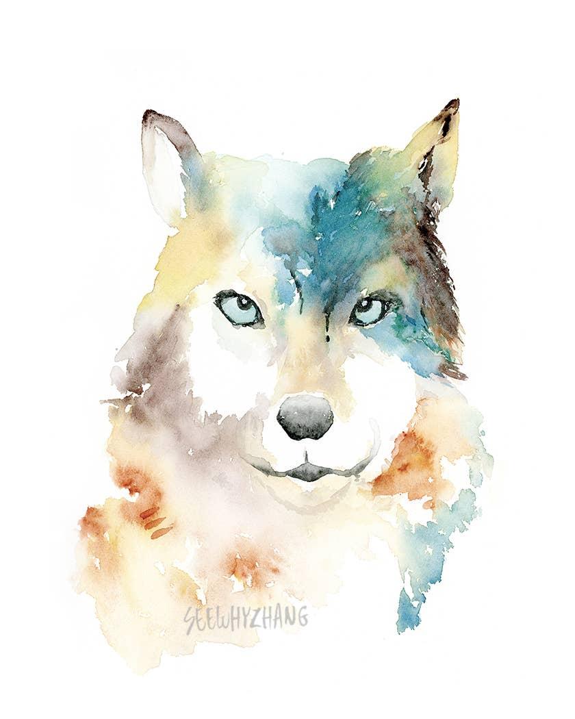 8'' x 10'' Teal Wolf Art Print | Trada Marketplace
