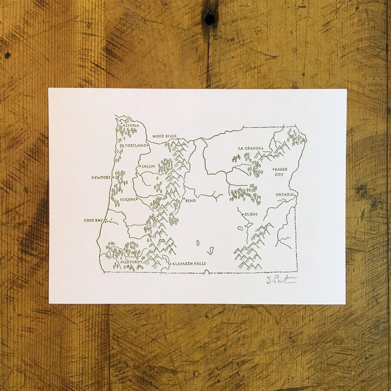 "5"" x 7"" Oregon State Illustrated Map Letterpress Print | Trada Marketplace"