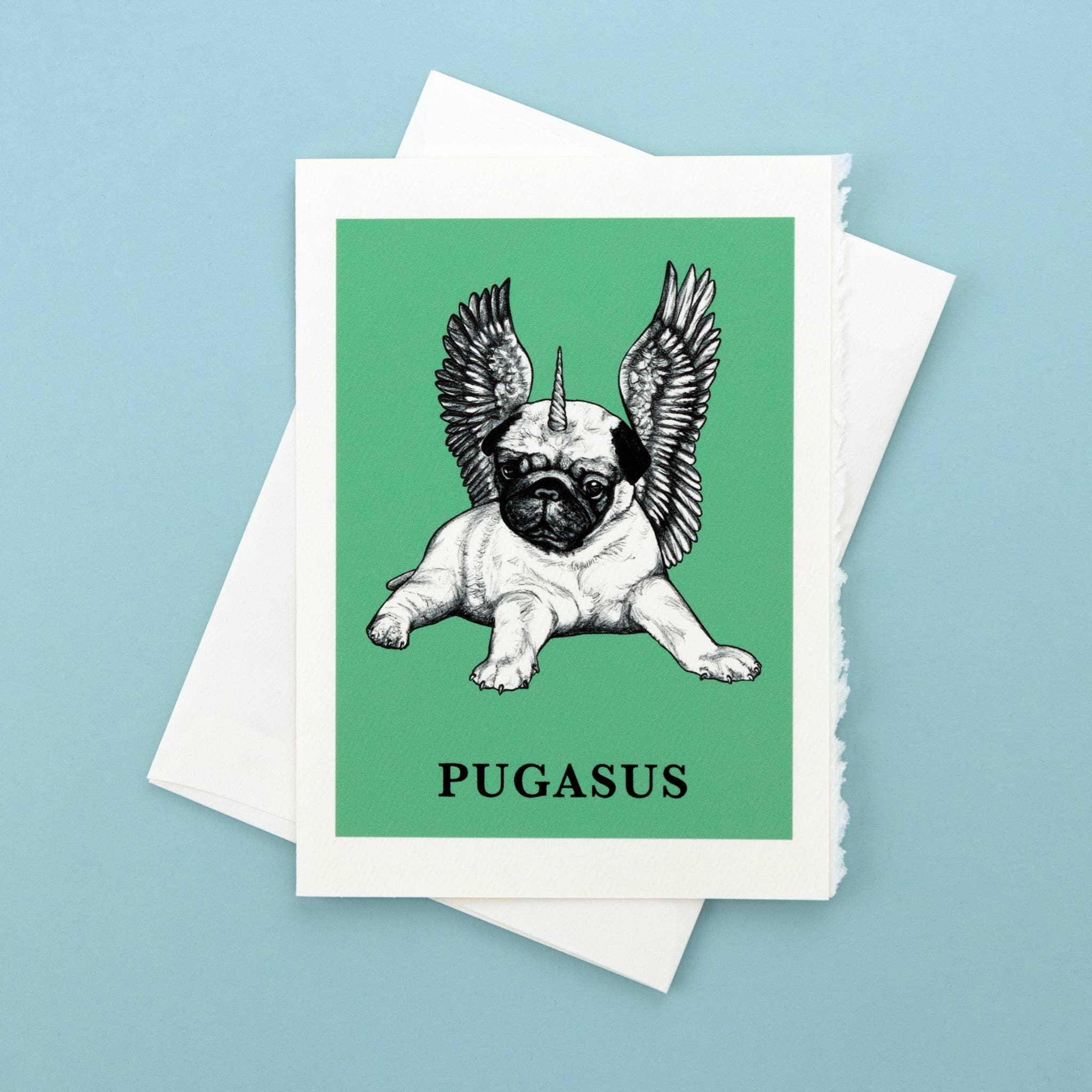 "Pugasus 5x7"" Greeting Card   Trada Marketplace"