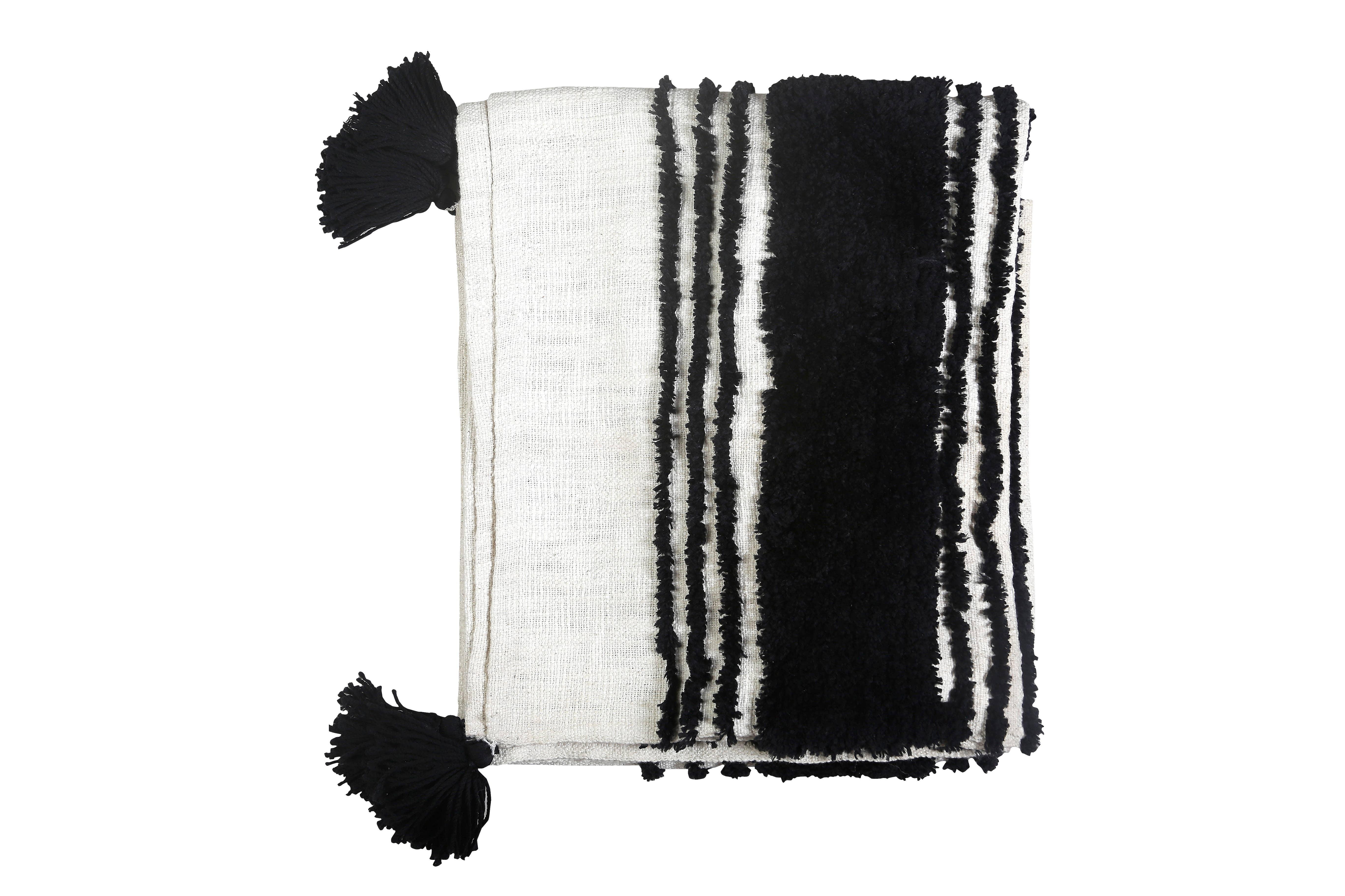 Tufted Slub Throw, Black & White- 50X60 Inches   Trada Marketplace