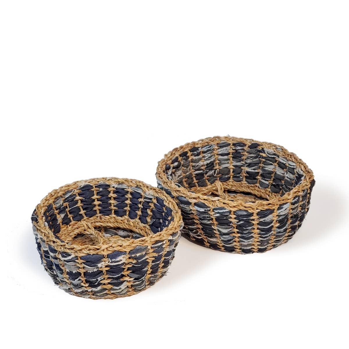 Daya Denim Foldable Basket - Set of 2 | Trada Marketplace