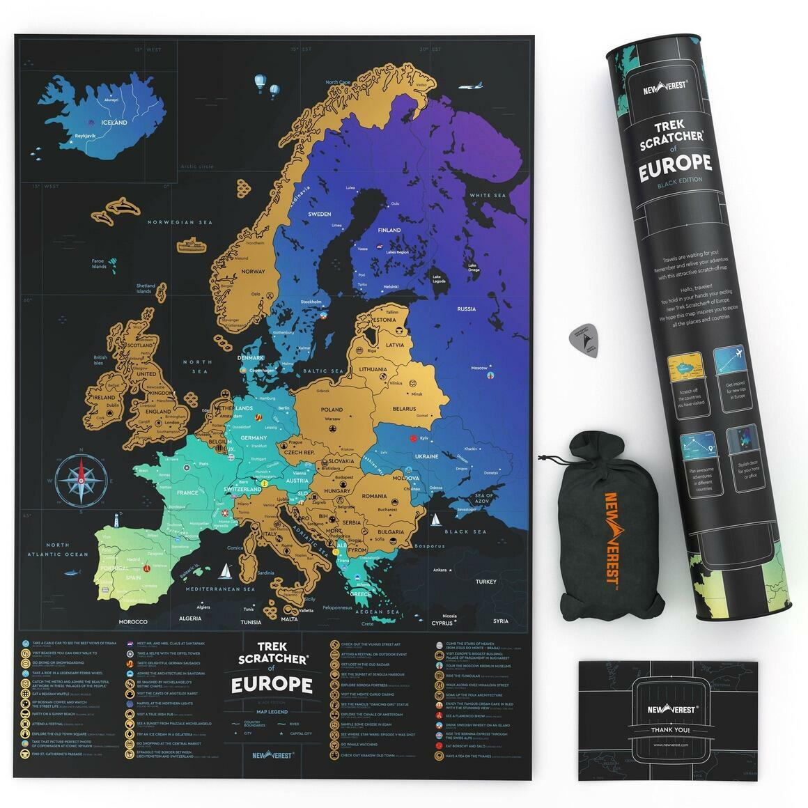 "Newverest Trek Scratcher of Europe Black 17"" x 24"" | Trada Marketplace"