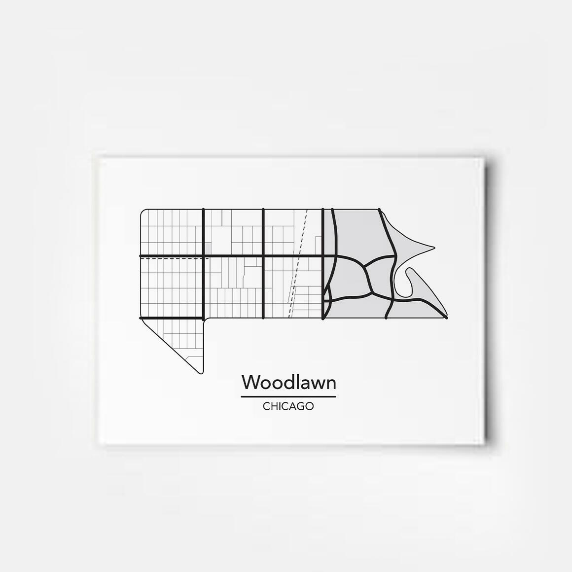 Woodlawn - Chicago Neighborhood Map Print | Trada Marketplace