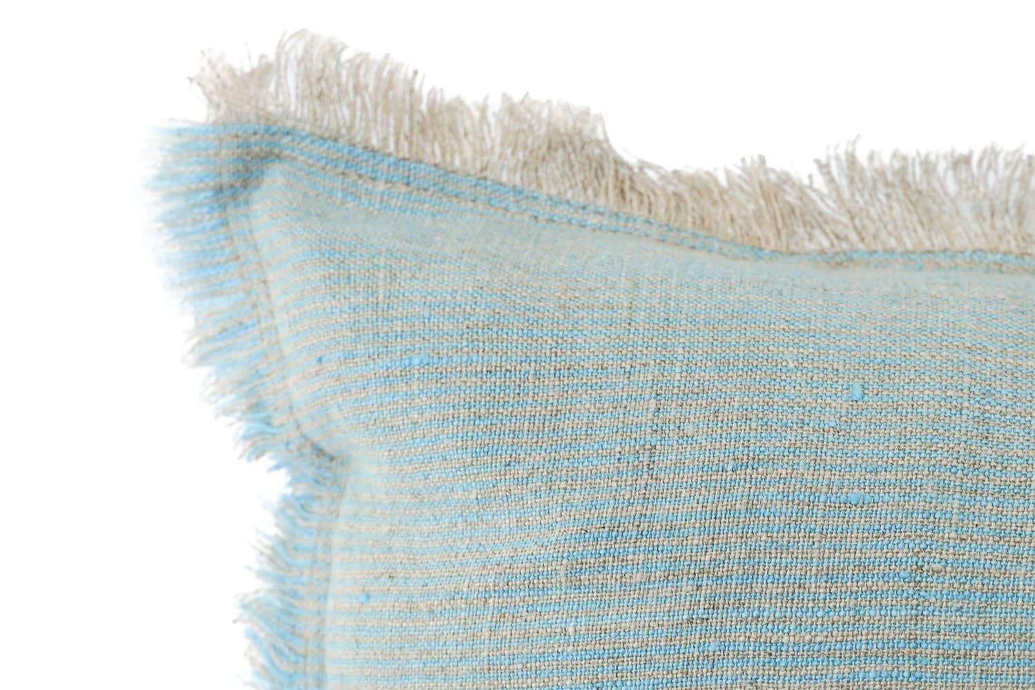 Blue + Beige Cross-dye Soft Linen Pillow   Trada Marketplace