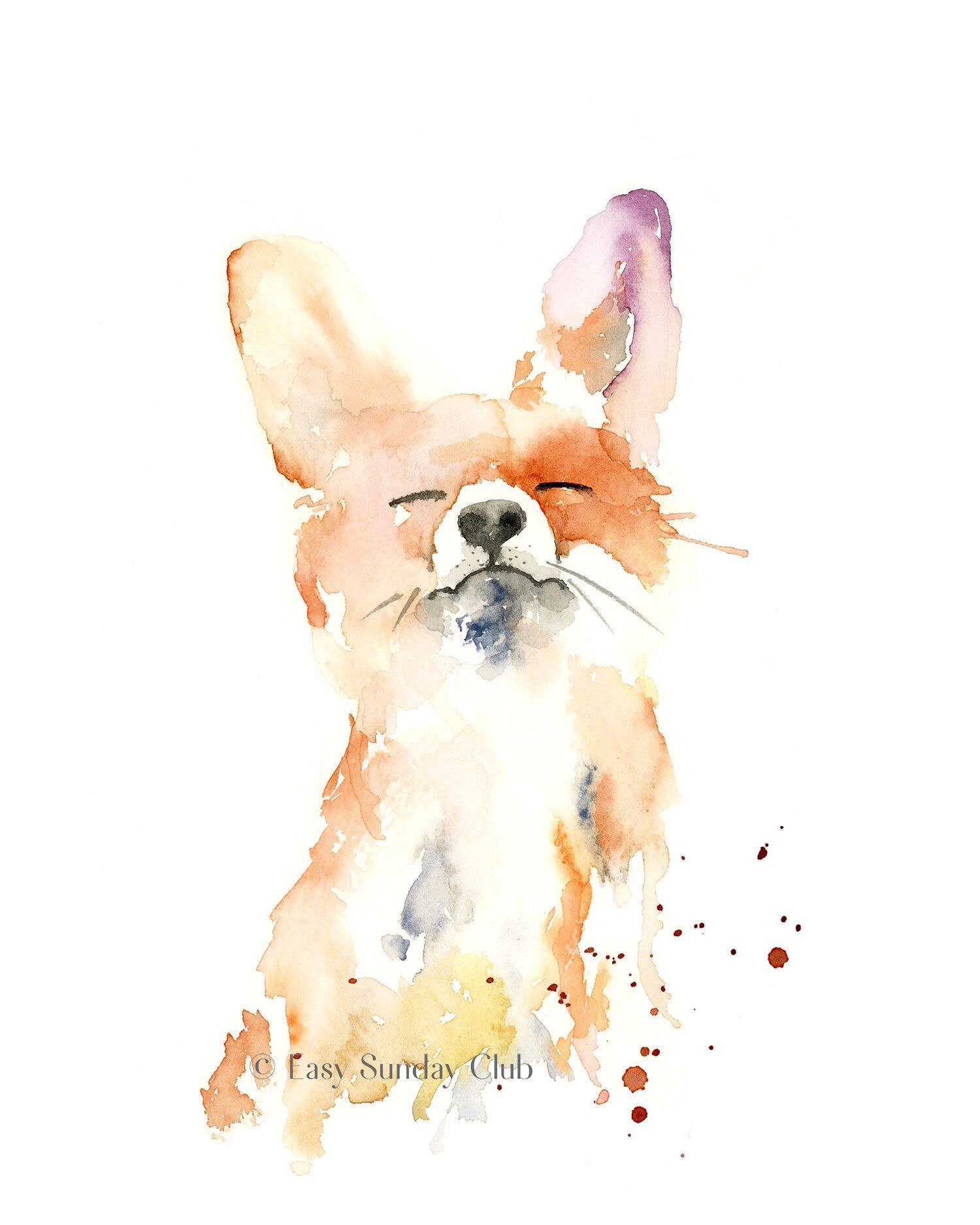 Proud Fox Watercolor Art Print | Trada Marketplace
