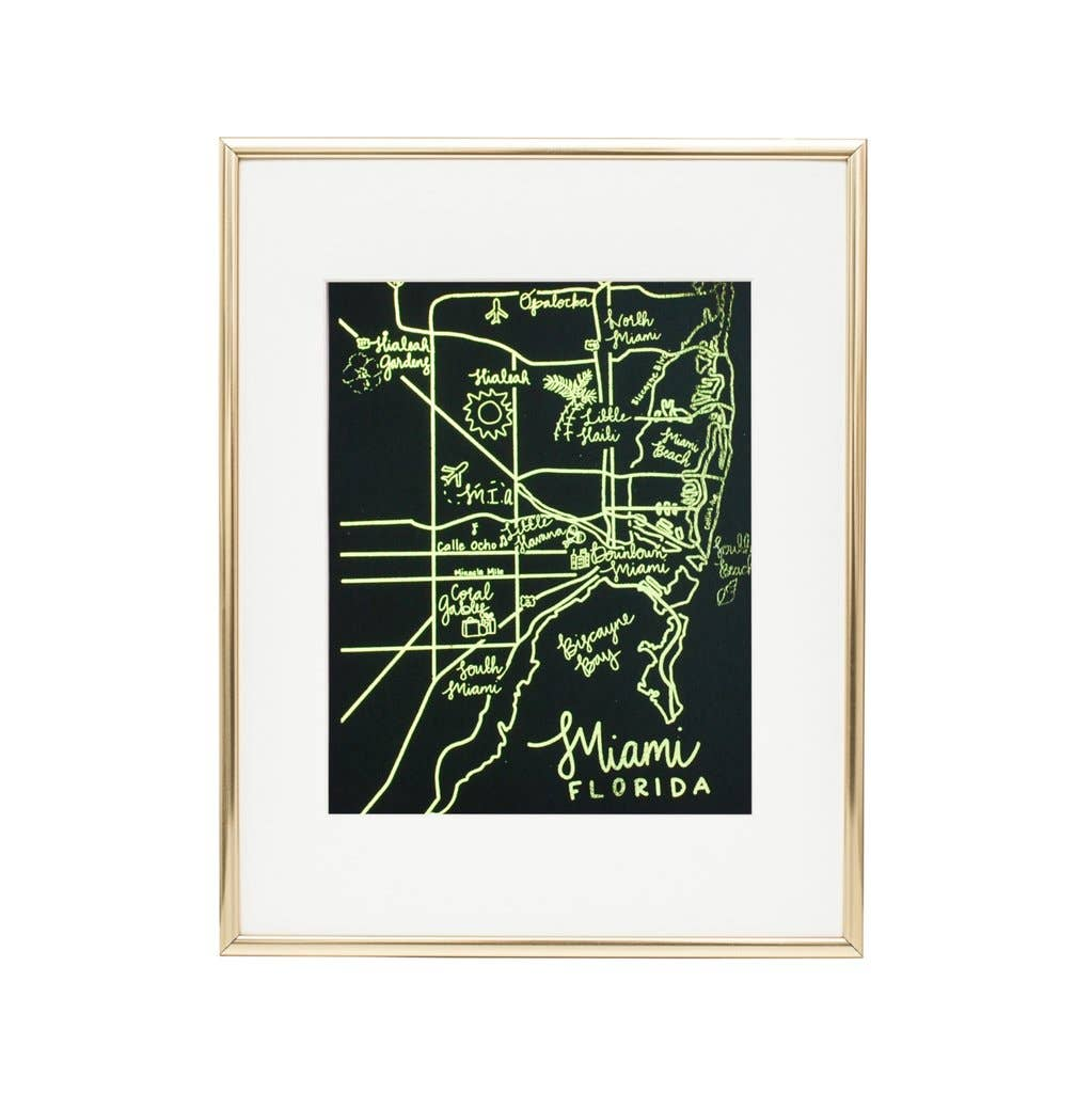 "8"" x 10"" Miami Art Print - Metallic Gold Foil | Trada Marketplace"