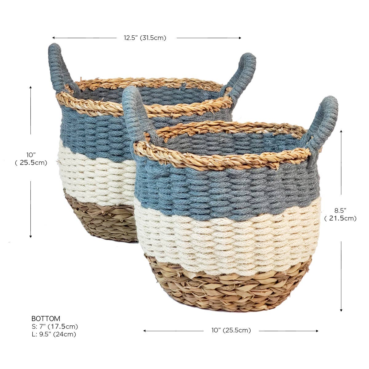 Ula Stripe Basket - Blue (Set of 2) | Trada Marketplace