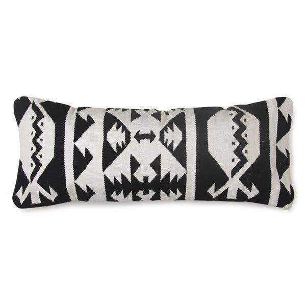 Tulum Kilim Lumbar Pillow, Black & White - 12x30 Inches   Trada Marketplace