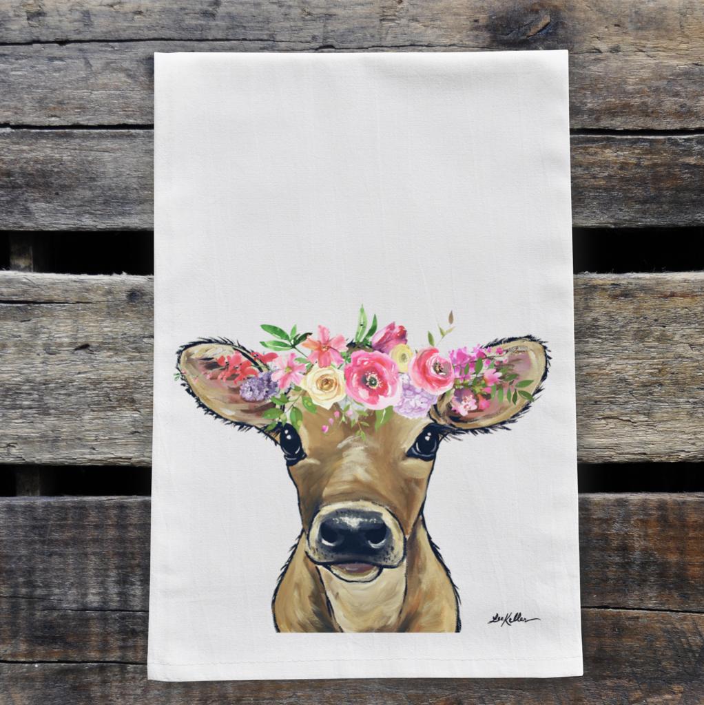 Spring Flower Calf Tea Towel, Farmhouse Towel Decor   Trada Marketplace