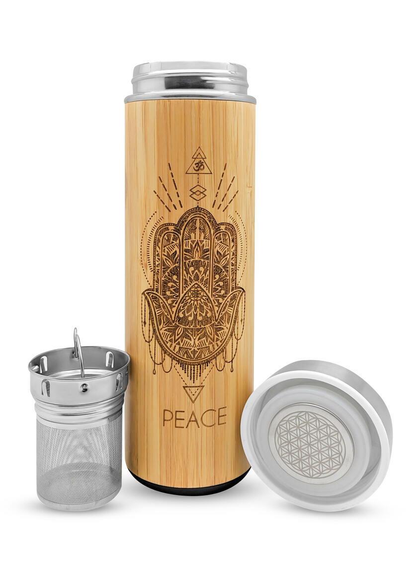 17.9oz PEACE Bamboo Water Bottle | Trada Marketplace