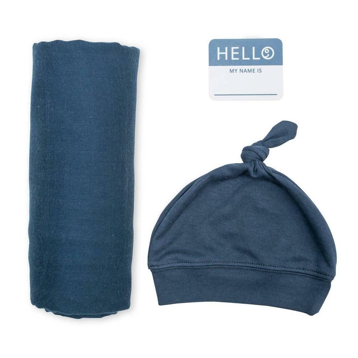 Navy Swaddling Blanket & Matching Hat   Trada Marketplace
