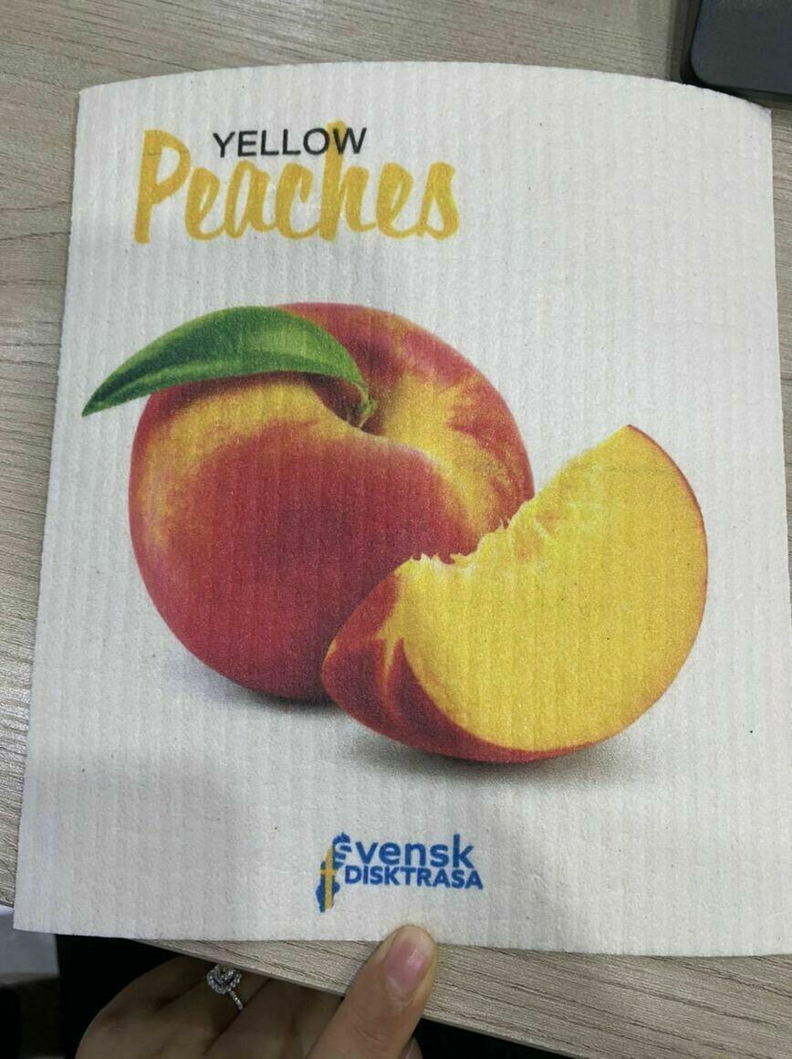Peaches Swedish Dishcloth   Trada Marketplace
