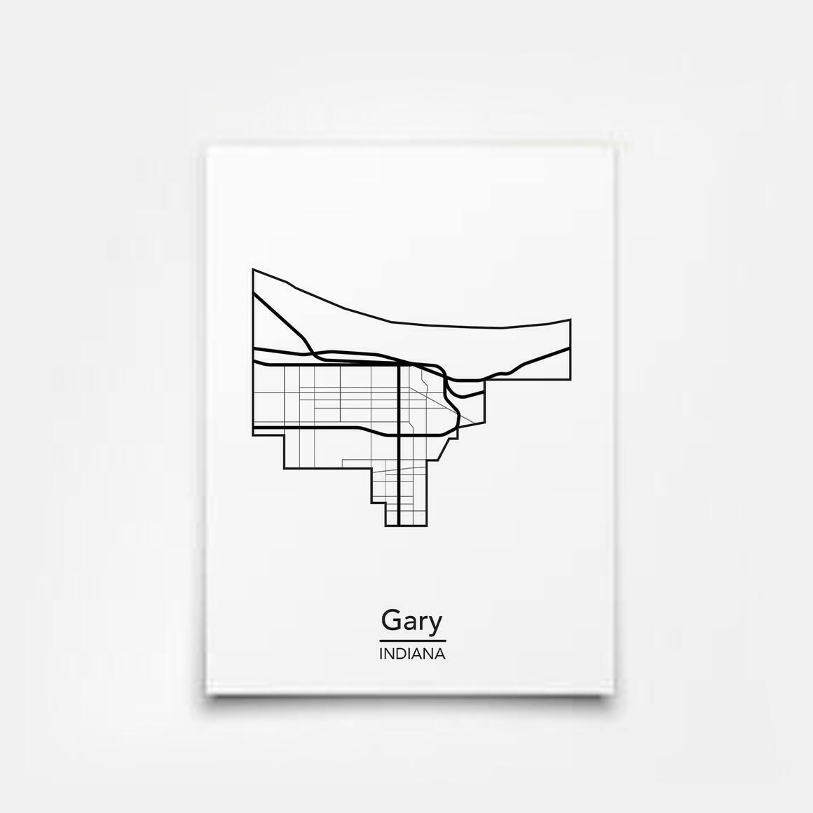 Gary, Indiana City Map Print   Trada Marketplace
