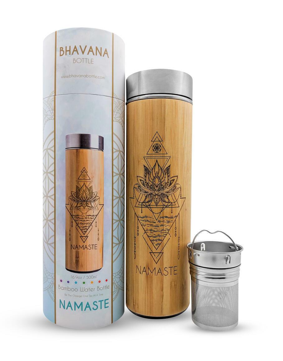 16.9oz NAMASTE Bamboo Water Bottle | Trada Marketplace