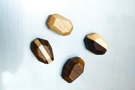 Geometric Wooden Magnets (Set of 4) | Trada Marketplace