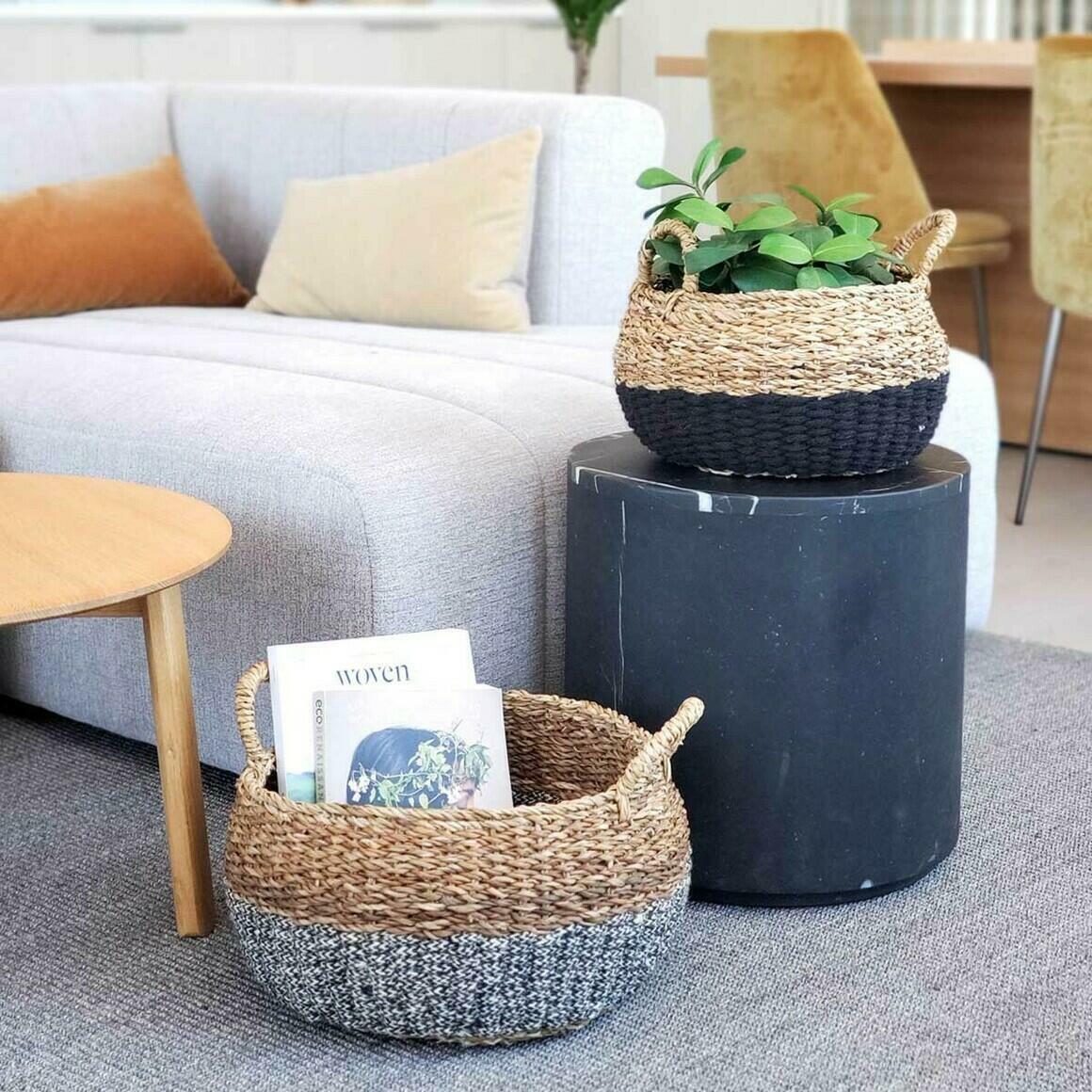 Ula Floor Basket - Black (Set of 2)   Trada Marketplace