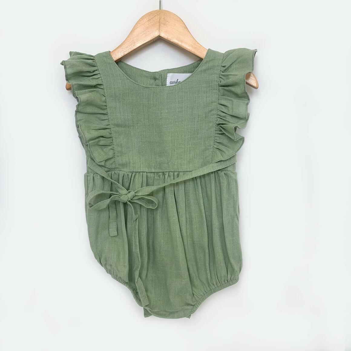 Green Linen Ruffle Romper | Trada Marketplace