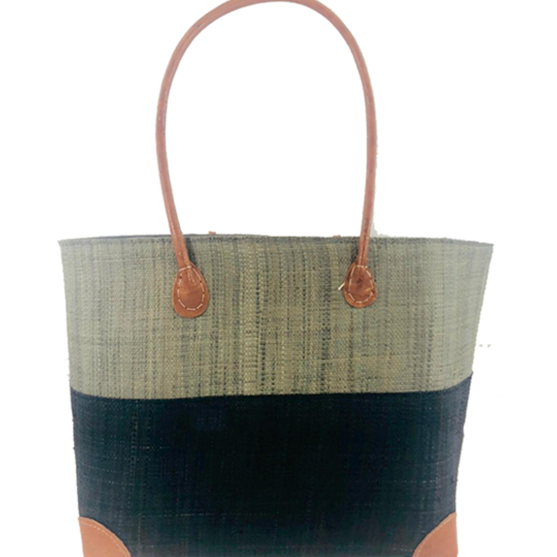 Trinidad Two Tone Straw Basket - Grey and black | Trada Marketplace