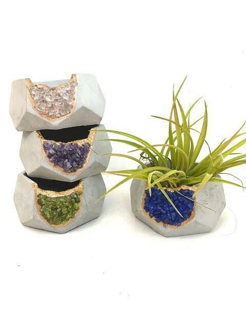Large Hexagon Geode Planter w/ Air Plant - Mixed Crystals   Trada Marketplace