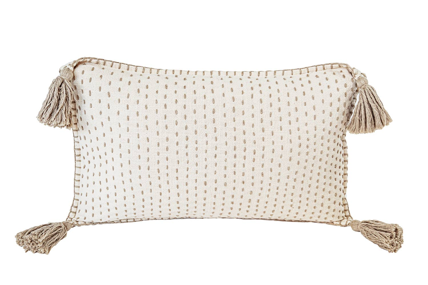 Hand Quilted Cotton Pillow  with Tassels   Trada Marketplace
