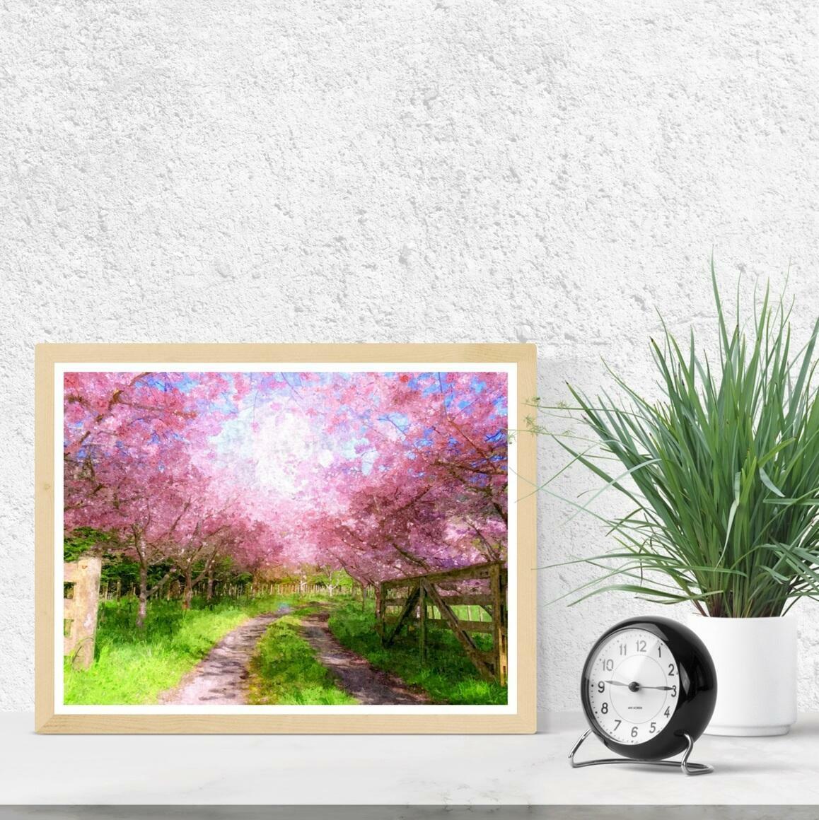 """Cherry Blossom Lane"" Fine Art Print | Trada Marketplace"