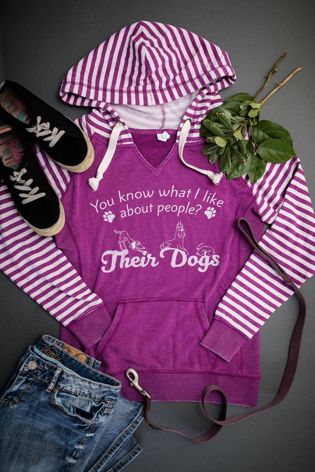 Ladies Garment Washed Striped Chalk Fleece Pullover Hoodie | Trada Marketplace