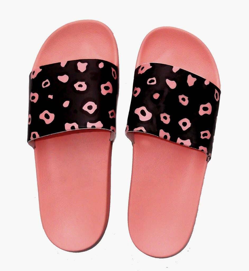 Coral Leopard Print Slide Sandals | Trada Marketplace