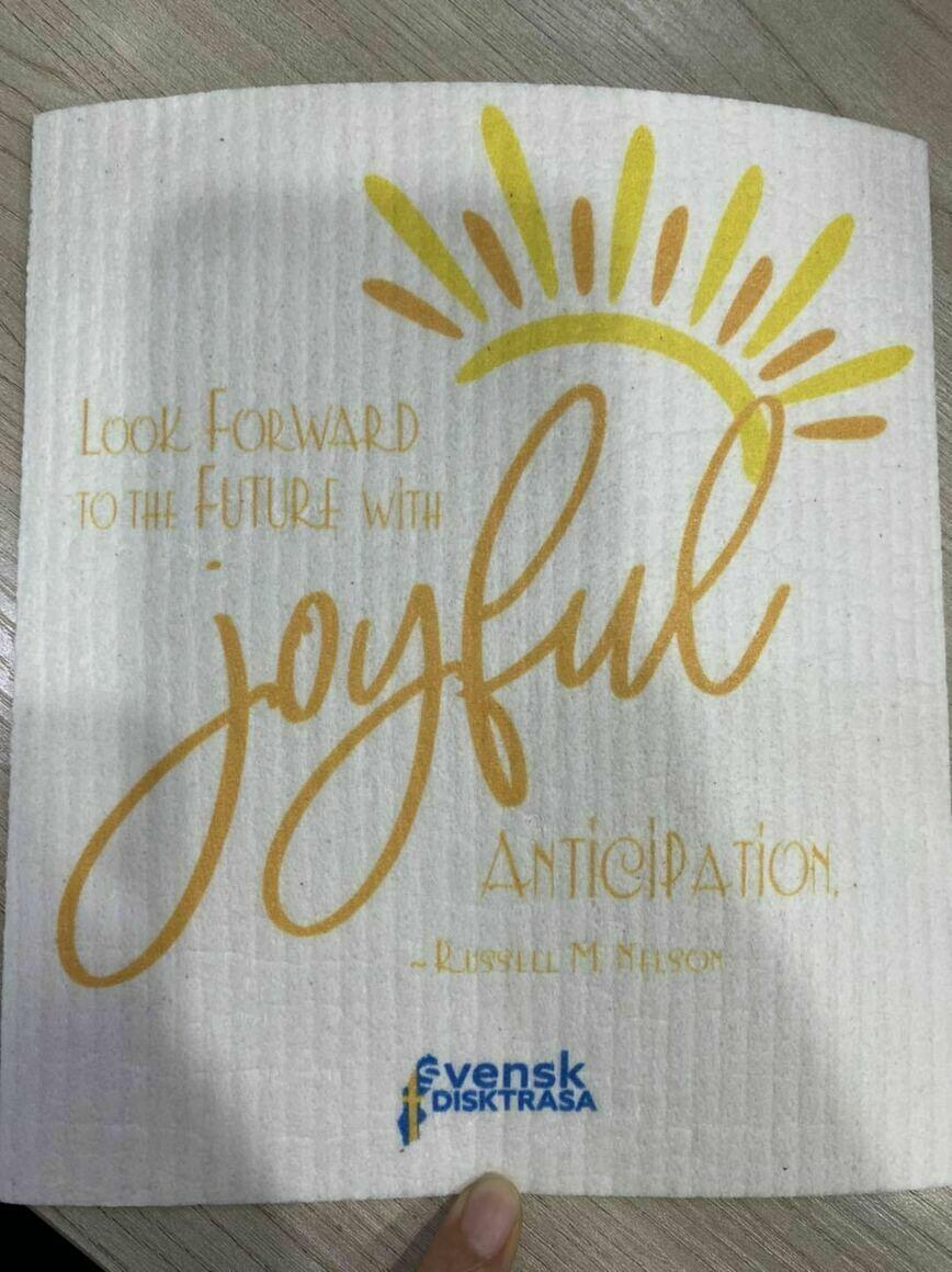 """Look Forward to the Future with Joyful Anticipation"" Swedish Dishcloth   Trada Marketplace"
