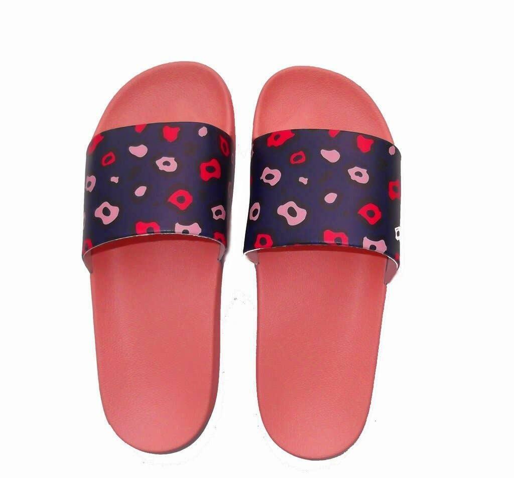 Navy Leopard Print Slide Sandals | Trada Marketplace