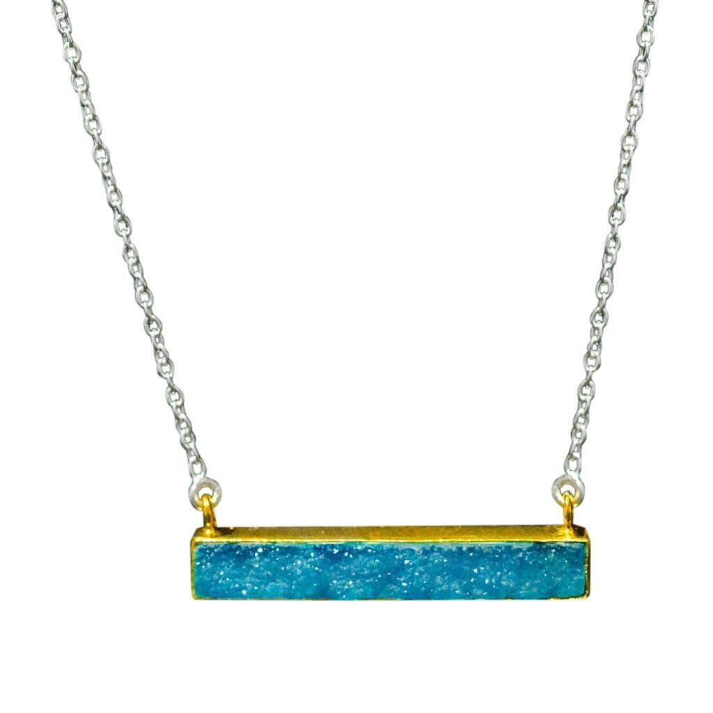 20% OFF Artisan Vermeil Aqua Druzy Bar Sterling Necklace   Trada Marketplace