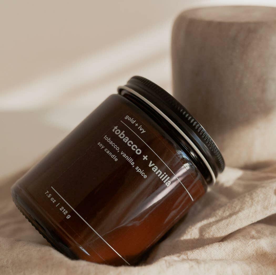 tobacco + vanilla soy candle - standard | Trada Marketplace