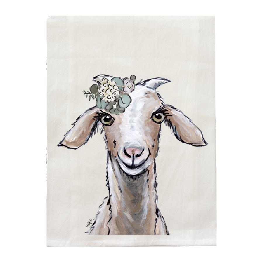 Farmhouse Flour Sack Towel, Goat Tea Towel in Neutrals   Trada Marketplace
