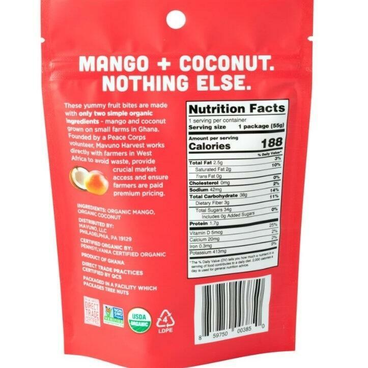 Mavuno Mango & Coconut Organic Chewy Fruit Bites   Trada Marketplace