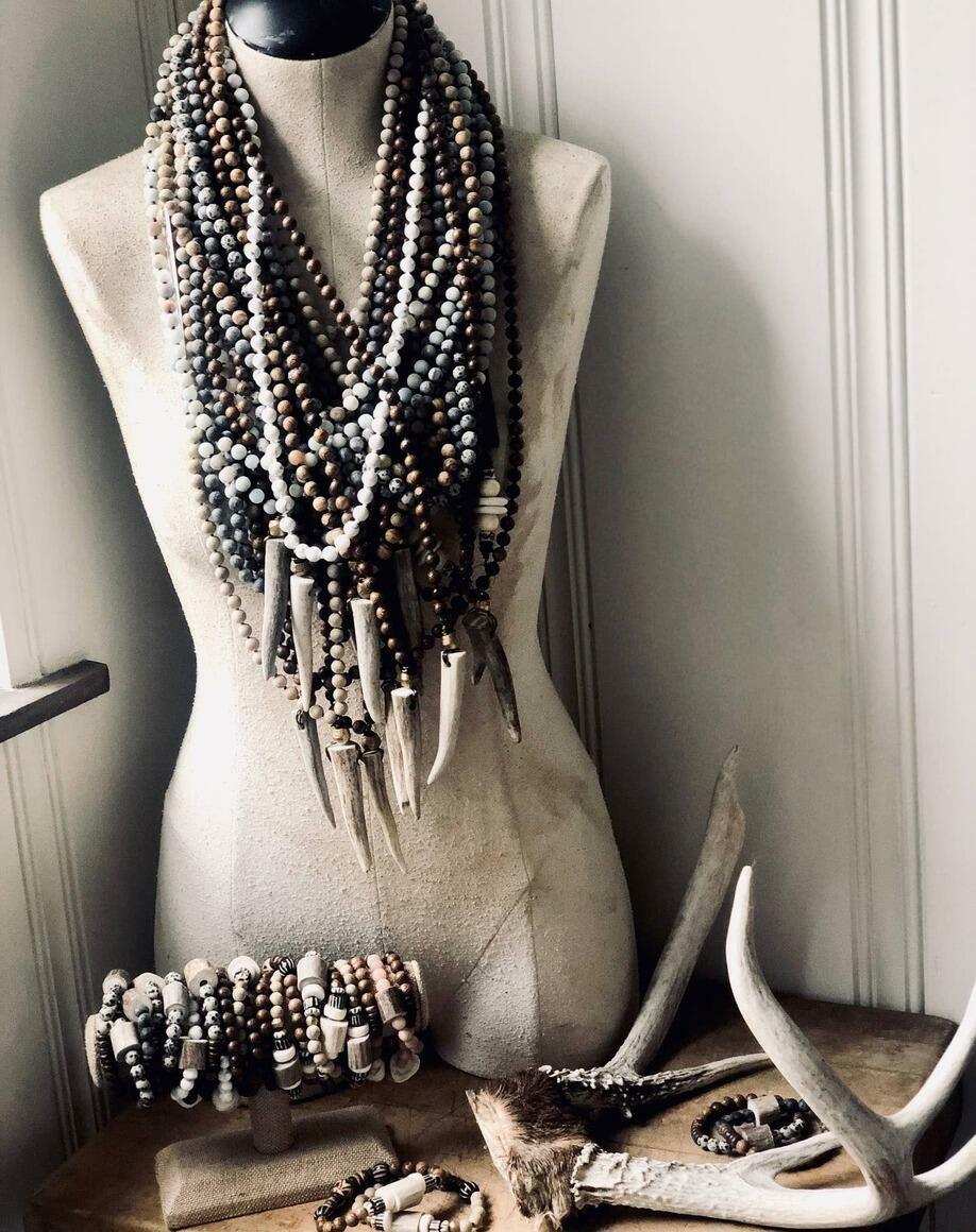 Deer Antler Knotted Gemstone Necklace -Hunter Gift   Trada Marketplace