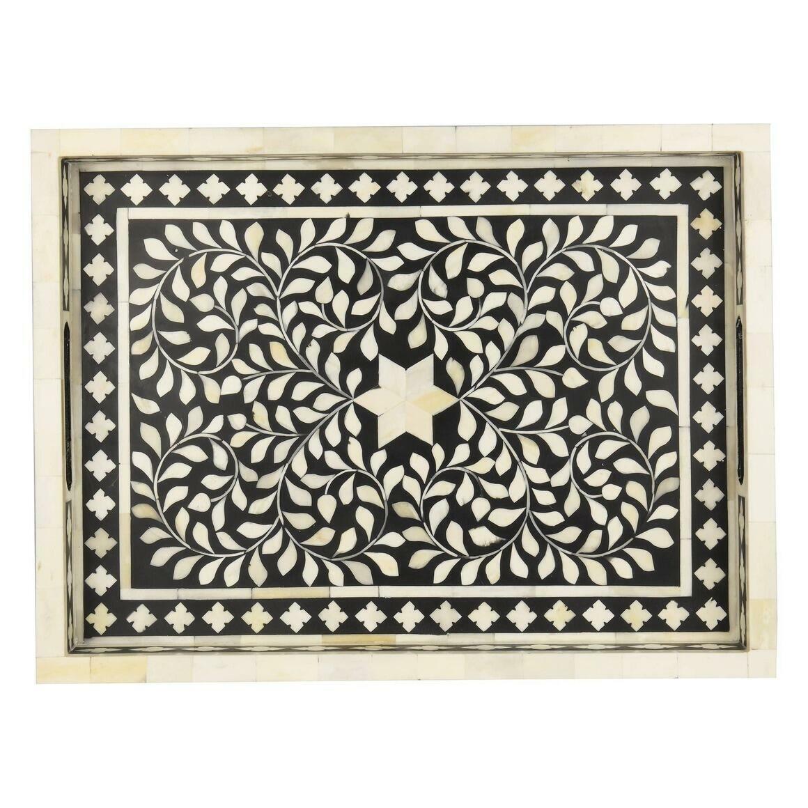 "Jodhpur Bone Inlay Décor Tray in Midnight Black (20""x15"")   Trada Marketplace"