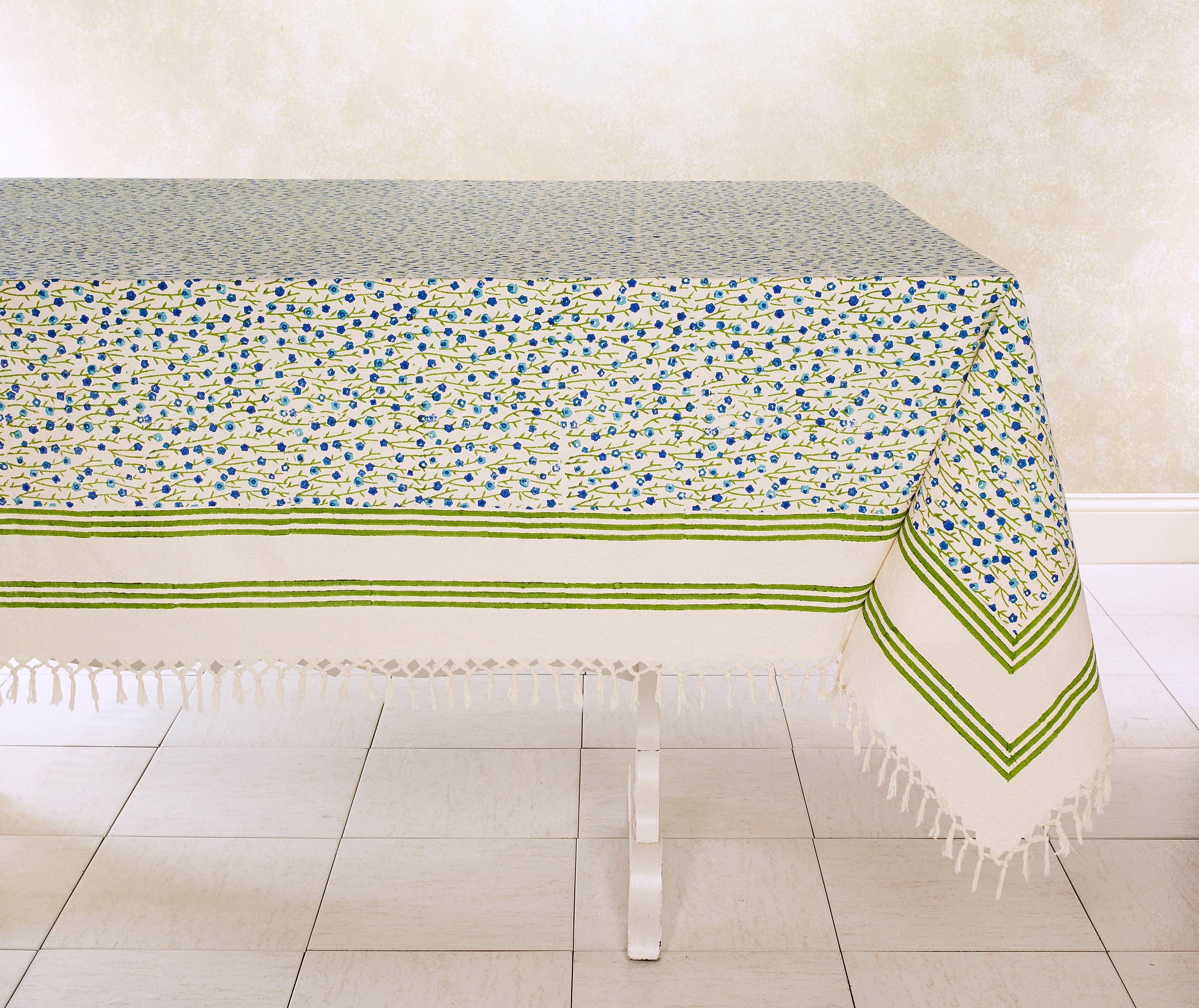 FIESTA BLUE Tablecloth Hand Block Printed Cotton | Trada Marketplace