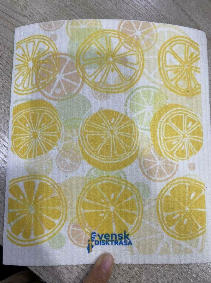 Lemon Slices Graphic Swedish Dishcloth   Trada Marketplace