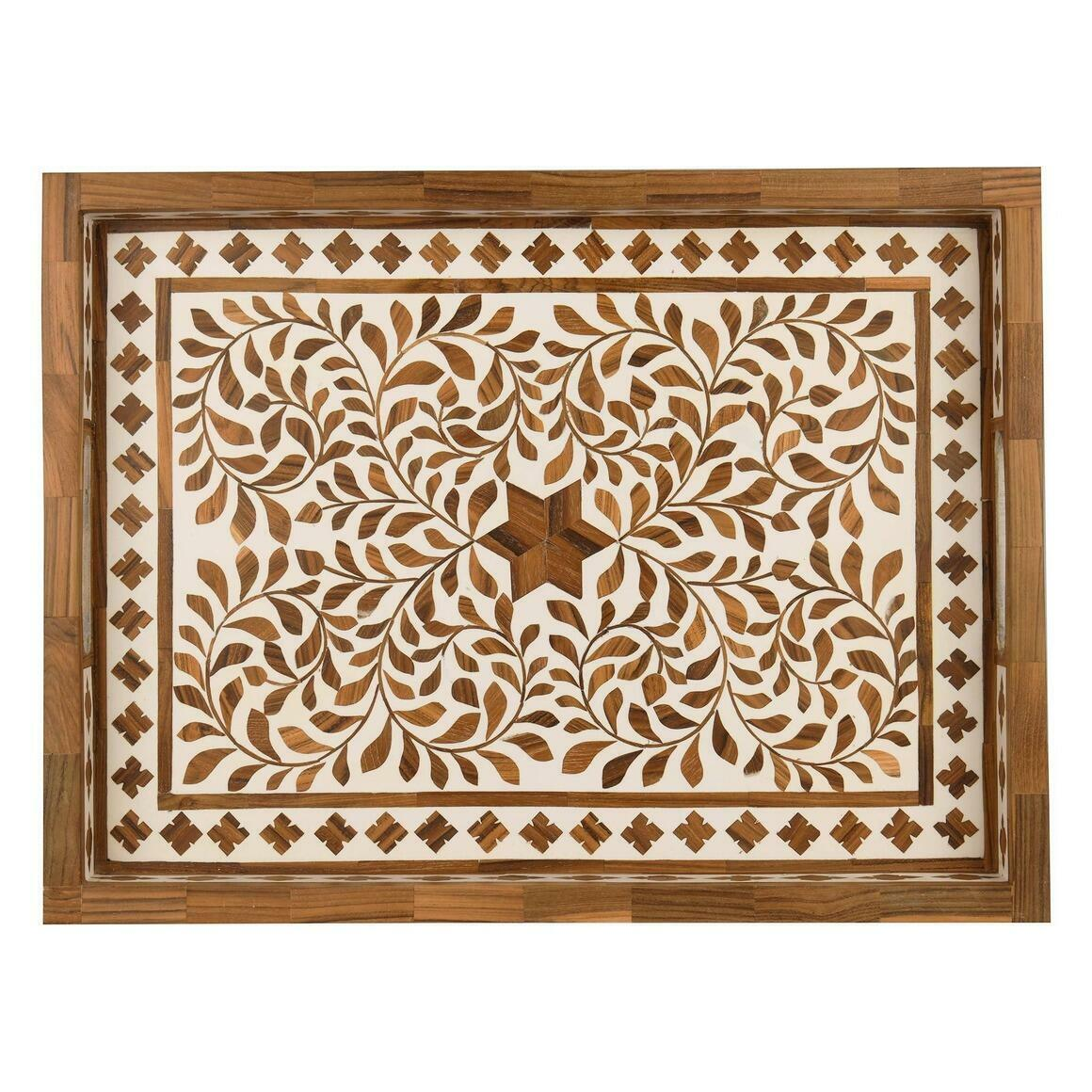 "Jodhpur Wood Inlay Décor Tray in Teak Brown (20""x15"")   Trada Marketplace"