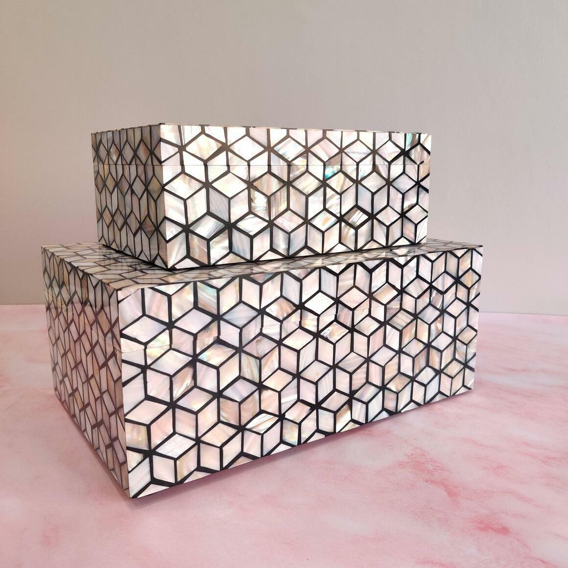 Kaya Mother of Pearl Décor Boxes (Set of 2)   Trada Marketplace