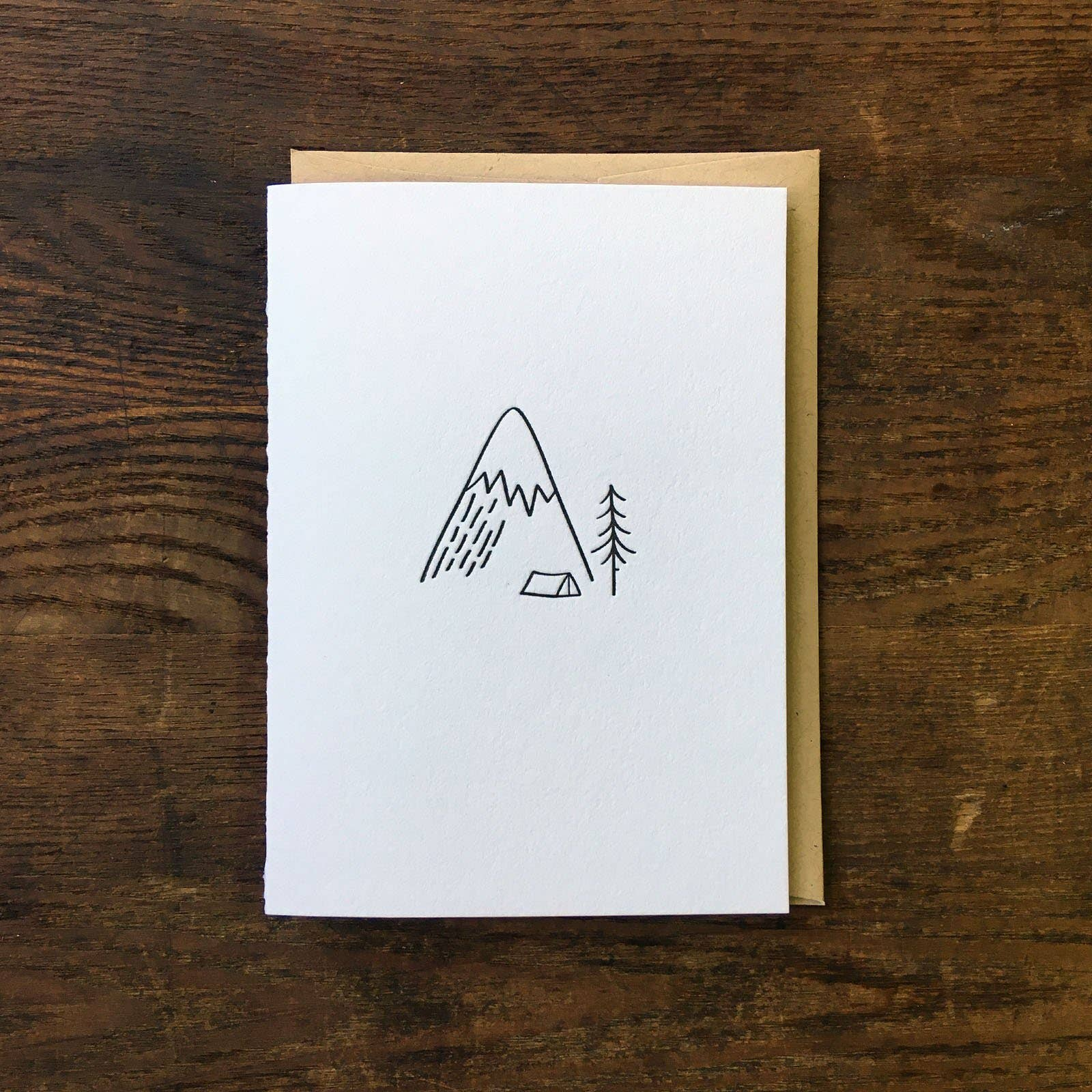 Minimal Adventure Camping in the Mountains Letterpress Card | Trada Marketplace