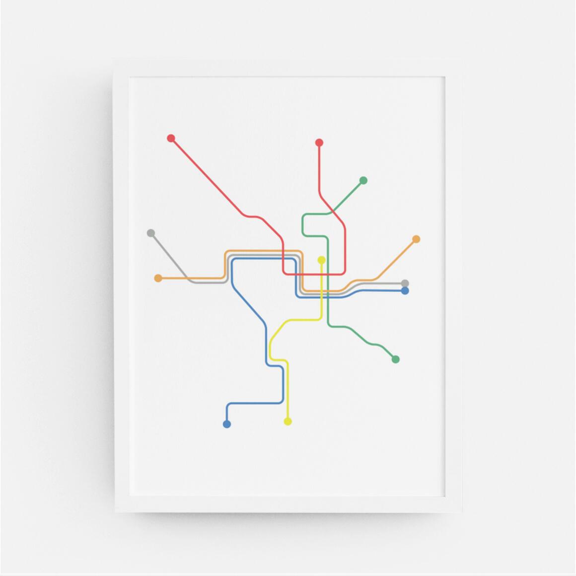 Washington DC Metro Map Print   Trada Marketplace