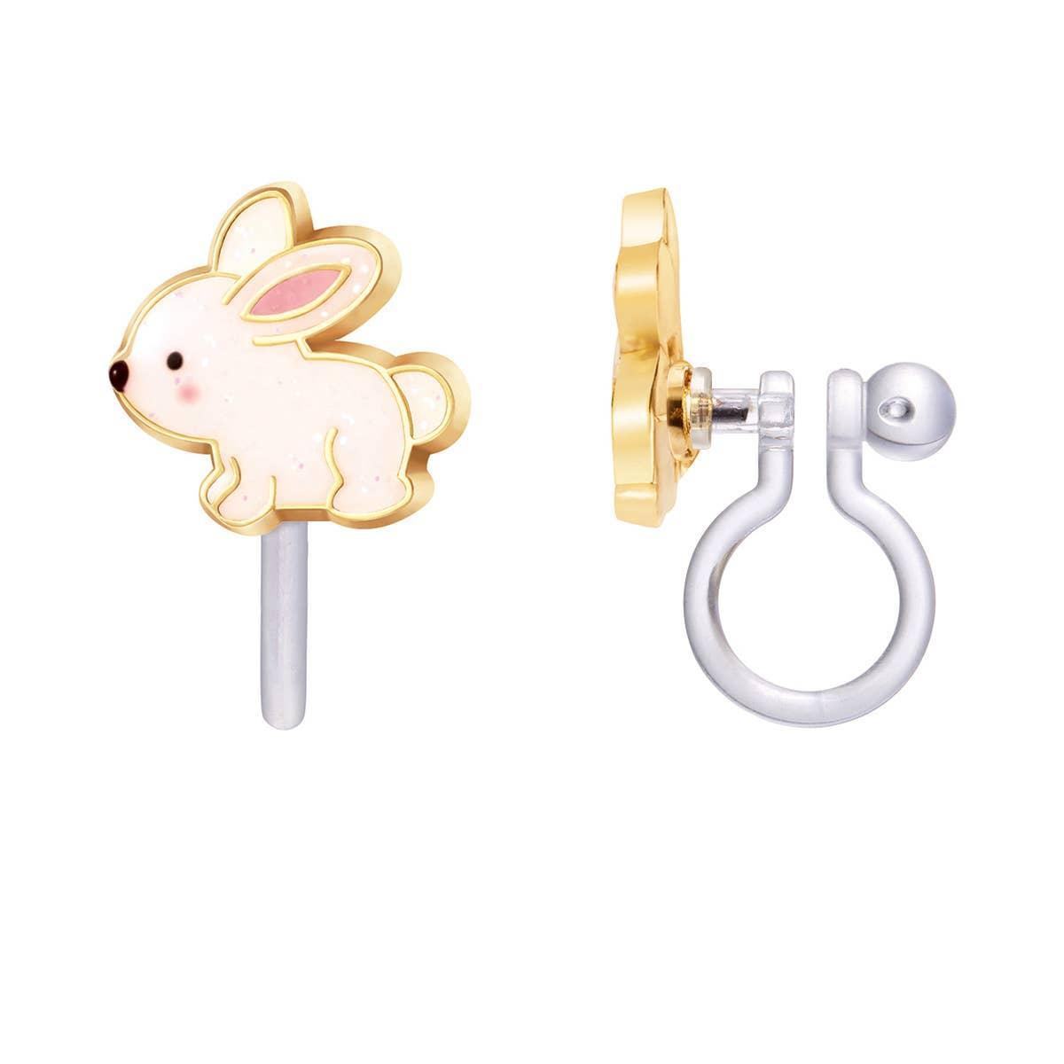 CLIP ON Cutie Earrings- Glitter Rabbit | Trada Marketplace