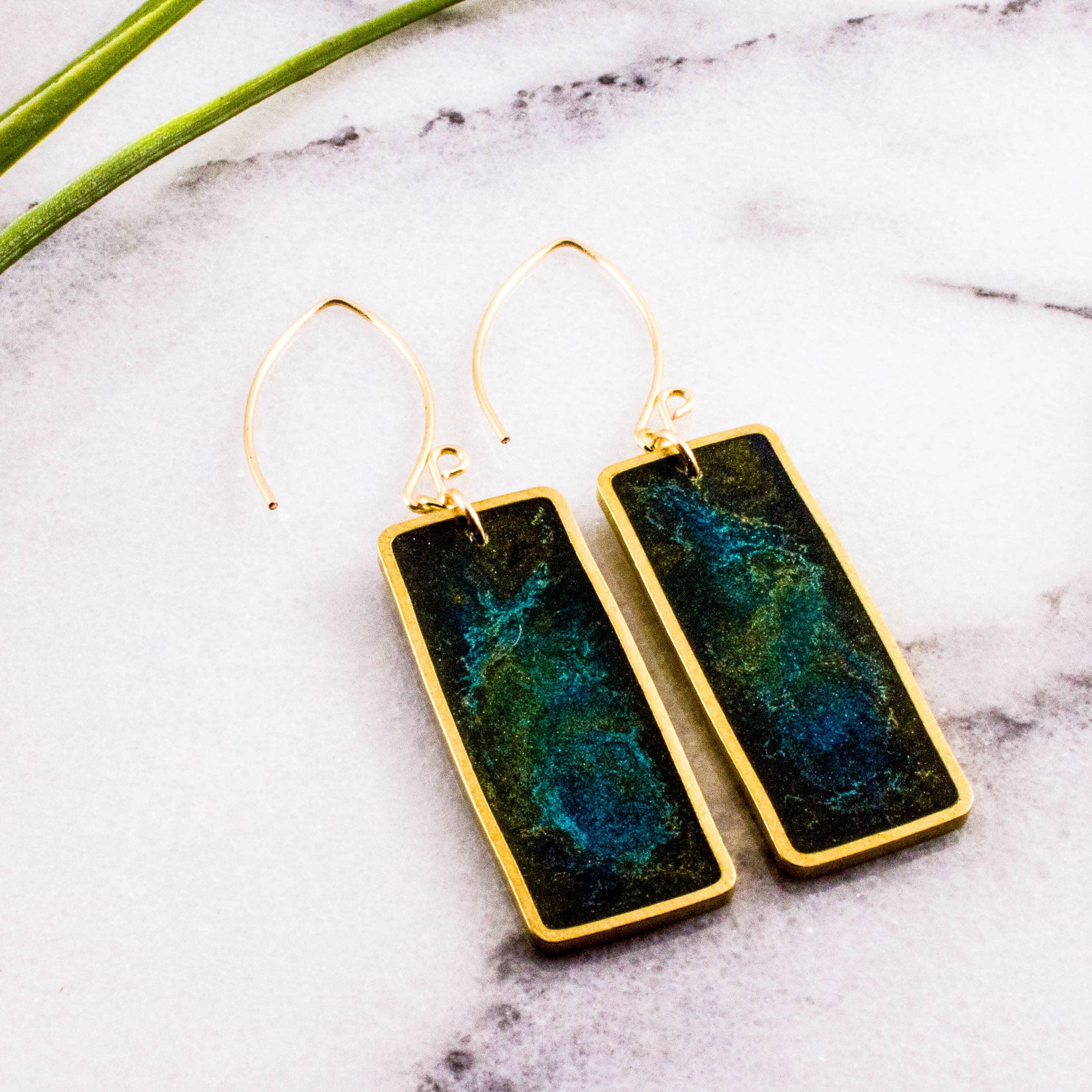 Green Swirl Brass Rectangle Earrings   Trada Marketplace