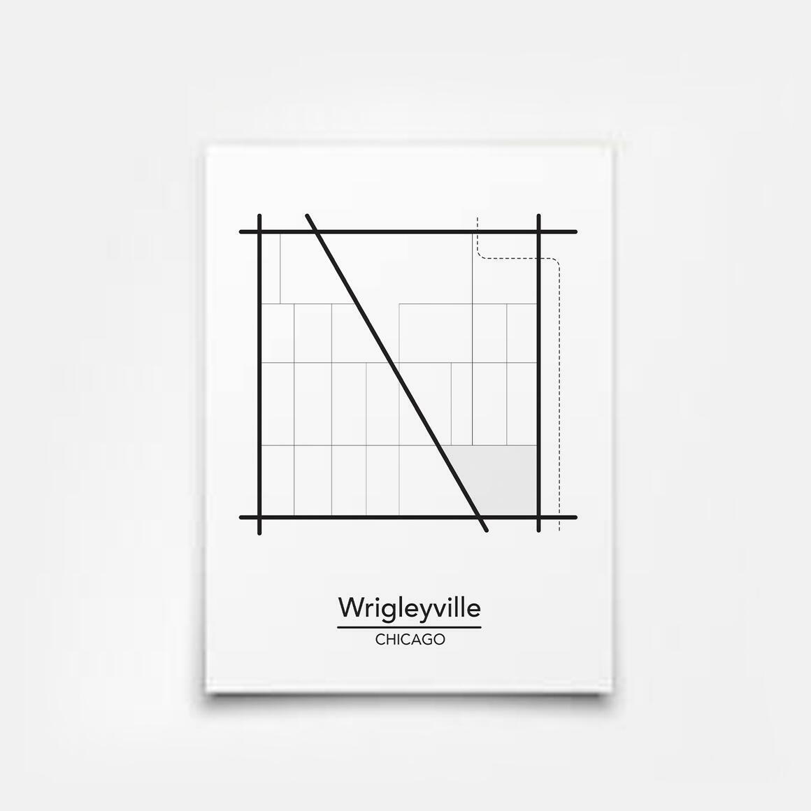 Wrigleyville - Chicago Neighborhood Map Print | Trada Marketplace